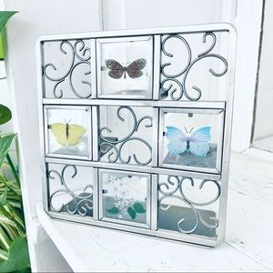 Butterfly Tealight Easel Metal Glass Candle Holder